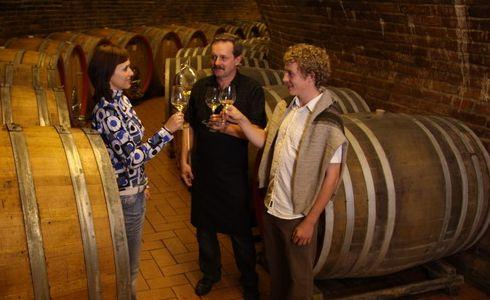 in wine cellar...